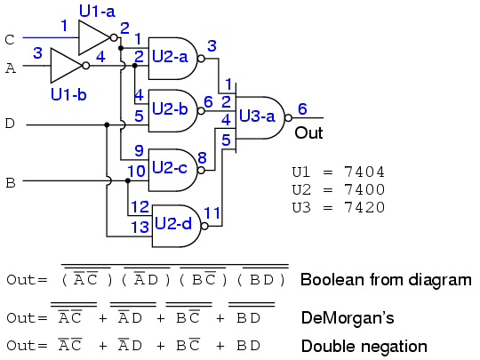Lessons In Electric Circuits -- Volume IV (Digital) - Chapter 8 on boolean function, boolean algebra, binary decision diagram, logical disjunction, absorption law, bitwise operation, logical conjunction, exclusive or, circuit minimization, de morgan's laws, truth table, digital timing diagram, boolean expression, combinational logic, boolean logic, sheffer stroke, race condition, canonical form,
